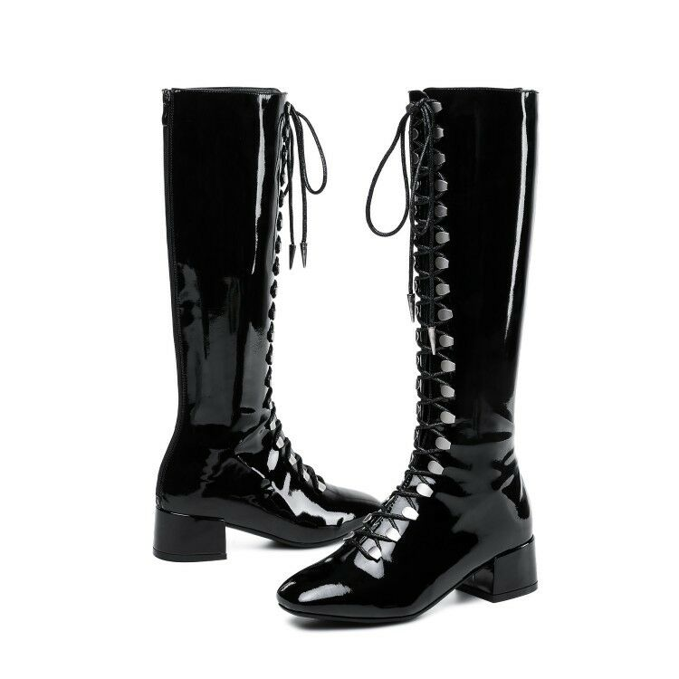 Womens Fashion Fashion Fashion Winter Lace Up Silver Patent leather Knee High Boots Block Heels 68a1c1