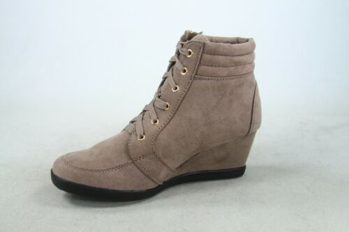 NEW Women/'s Round Toe Lace Up High Top Low Wedge Fashion Sneakers Size 5-10