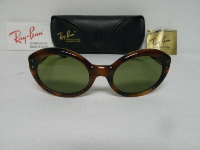 New Vintage B&L Ray Ban Clubmaster Oval Blonde Tortoise W1265 USA Wayfarer Sunglasses USA NOS