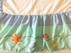 KIDSLINE-FISH-THEME-CRIB-SKIRT-Dust-Ruffle-Embroidered-Applique-26-x-48