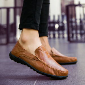 Men-039-s-Casual-Leather-Shoes-Driving-Loafers-Peas-Penny-Moccasins-Slip-on-Flats