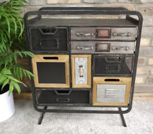 Industrial-Side-Cabinet-Vintage-Storage-Furniture-Rustic-Metal-Drawers-Room-Unit