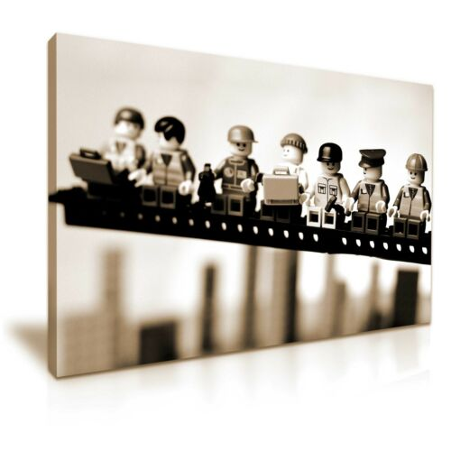 Lego Lunch Atop a Skyscraper Funky Canvas Wall Art Picture Print 76x50cm