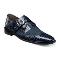 Stacy Adams Mens Shoes Arrico Navy Blue Crocodile Print Leather Suede 25003-400