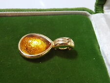 Vintage Golden Amber Glass Teardrop Rhinestone Pearl Enhancer Gold Pendant 4i 61