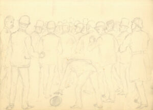 Harry B. Tansley - Late 19th Century Graphite Drawing, Gathered Crowd