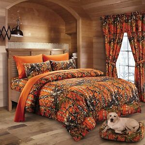 FULL-SIZE-ORANGE-CAMO-COMFORTER-BED-SPREAD-ONLY-CAMOUFLAGE-BLAZE-WOODS-86x94