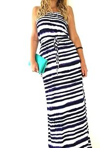 Monsoon-Maxi-Dress-Beach-Coverup-White-Purple-Striped-Cruise-Holiday-Size-Small
