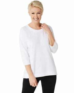 Denim-amp-Co-Active-Womens-French-Terry-3-4-Sleeve-Top-Small-White-A351591