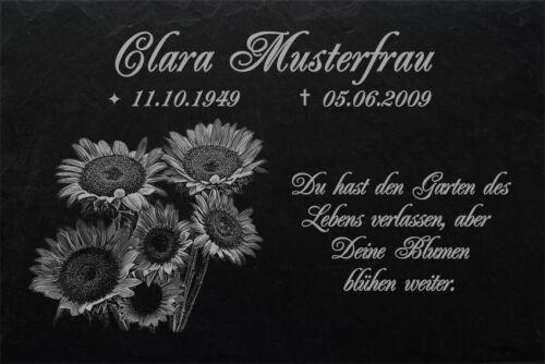 Gedenktafel Grabplatte Grabschmuck Urne Sonnenblumen Grabstein-030 ► 50 x 25 cm
