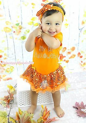 One-pieces My 1st Halloween Orange Bodysuit Girls Bling Sequins Baby Dress Outfit Nb-18m To Ensure A Like-New Appearance Indefinably