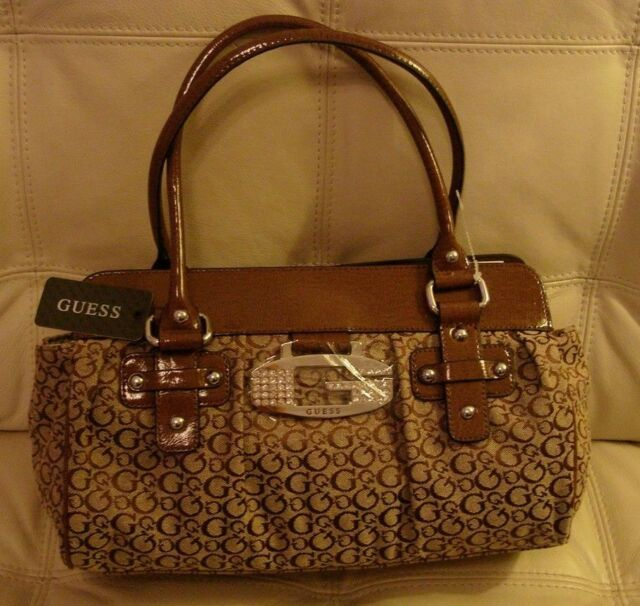 New With Tags Guess Purse Bag Tote Fabric Patent Leather Brown Rhinestone Tansy