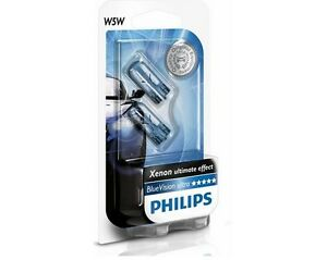 2-AMPOULES-W5W-SAAB-900-2-9-3-9-5-PHILIPS-BLUE-VISION-XENON-VEILLEUSES-T10