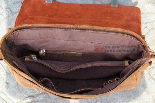 15/'/' Vintage Full Grain Leather Men/'s shoulder bag Messenger Briefcases