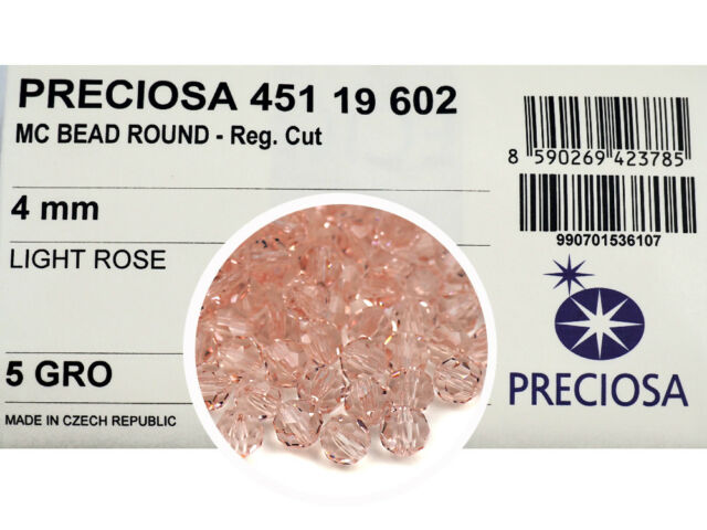 24 Preciosa MC Cube beads in 8mm Crystal Light Pink .