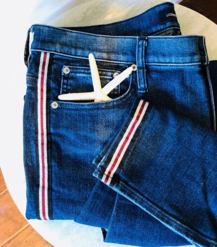 J Crew Vintage Straight Jeans Metallic Tuxedo Race