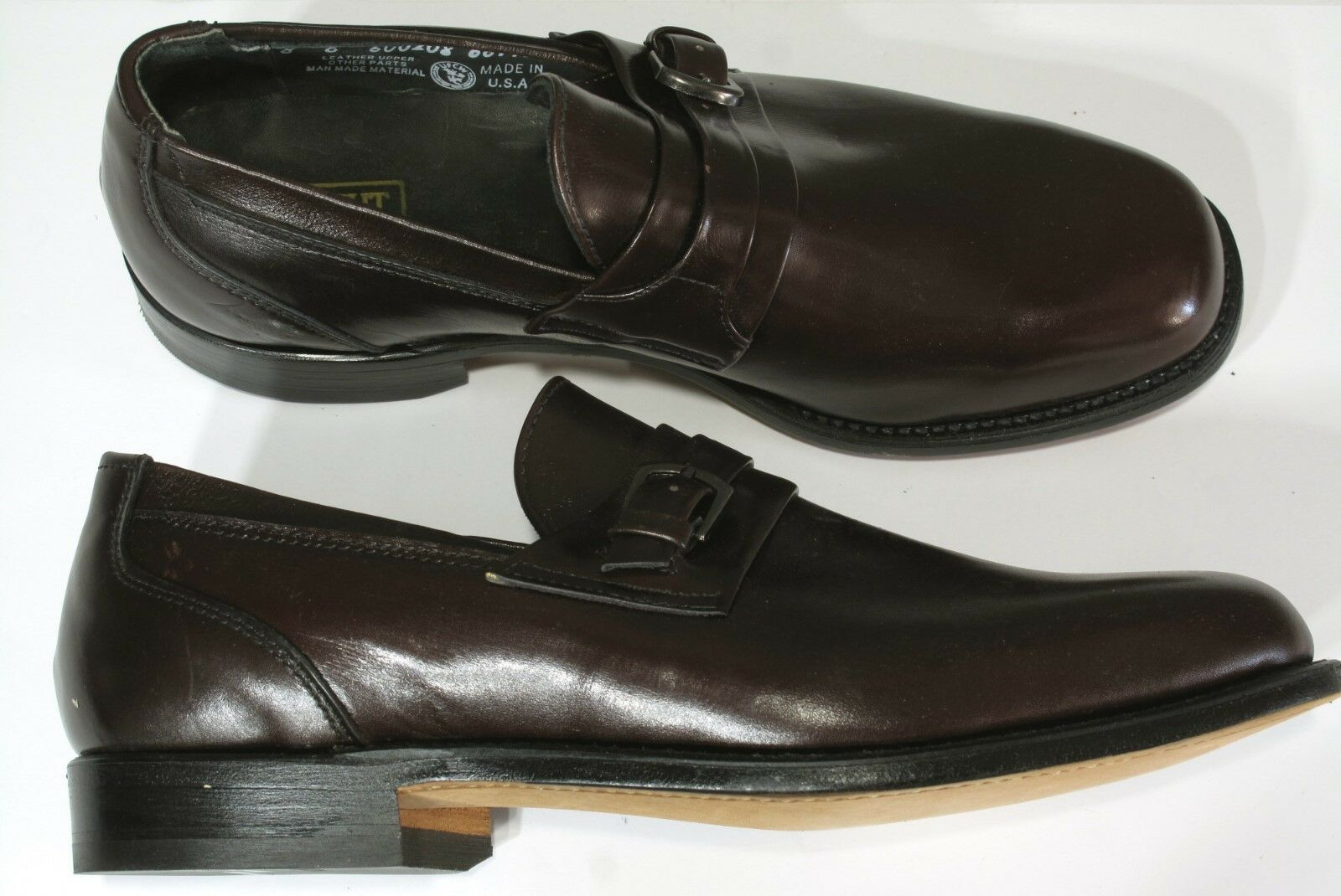 New Vtg E T Wright Monk Strap Shoes Loafers 12C Burgundy Arch Preserver