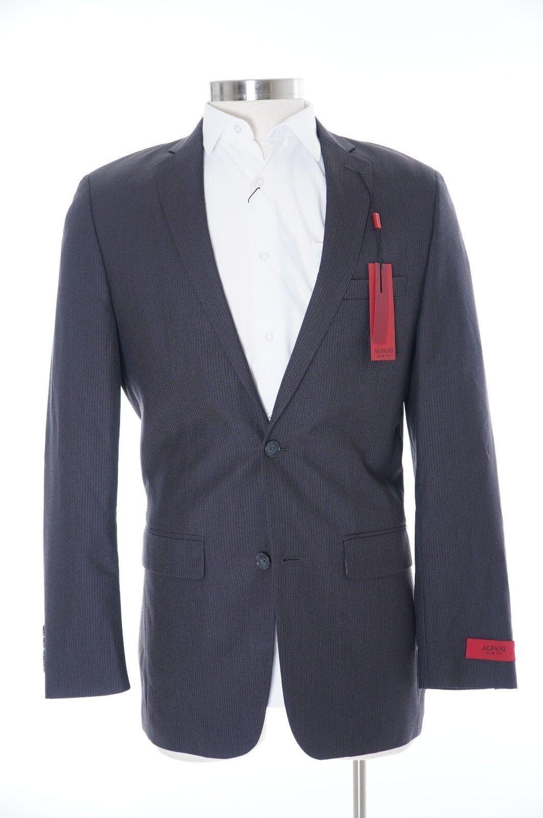 Alfani ROT Slim Fit Charcoal Tonal Striped Two Button Suit Blazer 46R