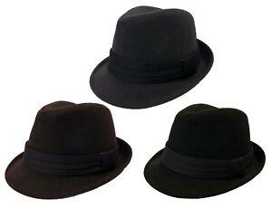 a680f6e01da Details about FEDORA TRILBY GANGSTER FANCY DRESS WOOL FEDORA BUCKET HAT MEN  WOMEN CAP