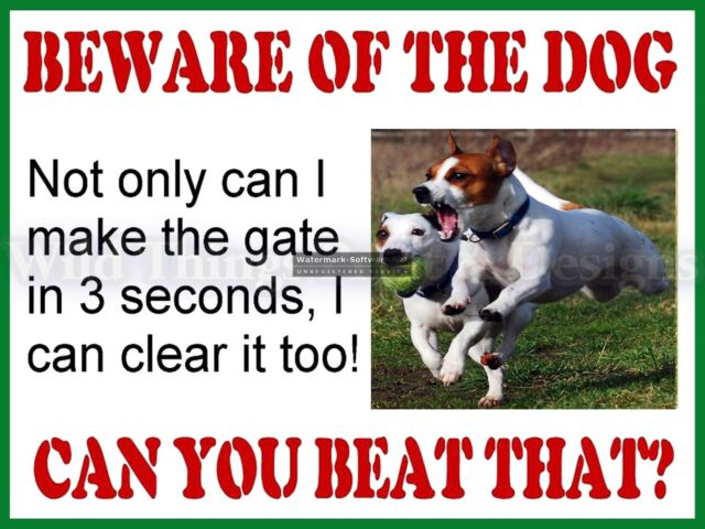 Funny Retro Metal Plaque Beware Of The Dog Jack Rus Sign Ad