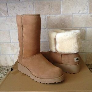 Details about UGG AMIE CLASSIC SLIM CHESTNUT SUEDE WEDGE SHORT BOOTS SIZE US 9.5 WOMENS NEW
