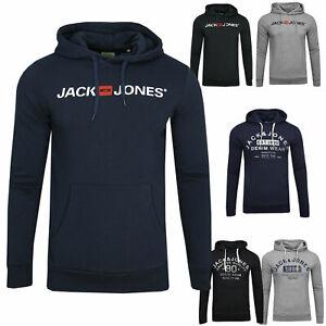 JACK-amp-JONES-Herren-Hoodie-Kapuzen-Pullover-Langarmshirt-Pulli-Sweat-Brust-Print