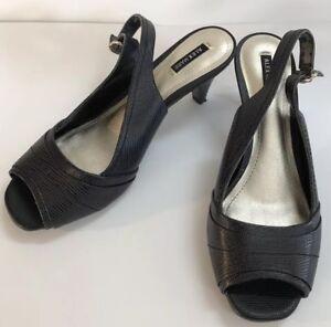 2299832cb Image is loading Alex-Marie-Black-Leather-Slingback-Peep-Toe-Heels-