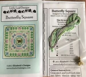 Butterfly-Square-Cross-Stitch-Little-Leaf-Elizabeth-039-s-Designs-Charm-Floss-OOP