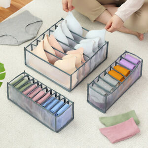 3PCS Foldable Underwear Bra Fabric Socks Box Storage Organizer Drawer Dividers
