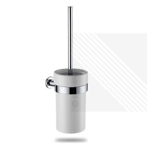 Details about Arian Pro 'Destiny' Wall Mounted Ceramic Chrome Toilet Brush & Holder Cream