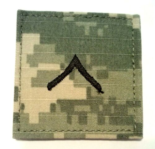 Made in USA US Army ACU Rank E2 Private Regulation Patch w//fastener