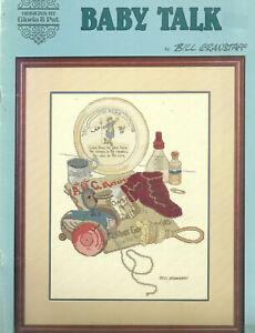 Baby-Talk-Cross-Stitch-Pattern-Leaflet-Antique-baby-things-Artist-Bill-Granstaff