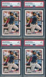 2020 Bowman Baseball Ronald Acuna Jr #27 LOT OF 4 CARDS ALL PSA 9 BRAVES MINT
