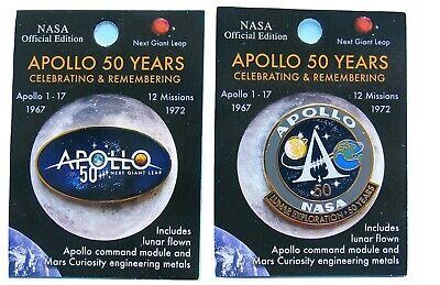 PIN PAIR flown metal NASA Apollo 11-50th Anniversary moon landing Mars