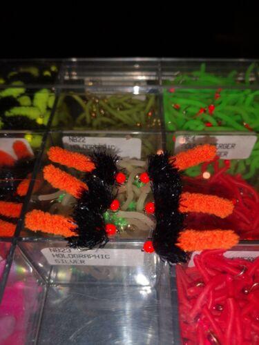 Mop wotsit Fly 6 Pack Orange Et Noir Hot Head Mop Fishing Flies taille 10 Crochet,