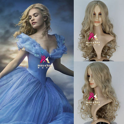 New Movie Princess Cinderella Wig Long Curly Ash Blonde Anime Cosplay Wig