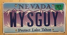 "NEVADA LAKE TAHOE VANITY LICENSE PLATE "" WYS GUY "" WISE YYYYY'S GUY CLEVER SMART"