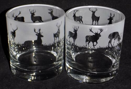 """es New Etched /""""STAG/"""" Whiskey Glass Beautiful Traditional Whiskey Glass"""