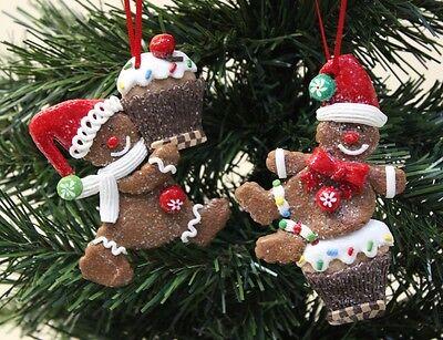 NEW Set Of 2 Gingerbread Cupcakes Christmas Tree Hanger Festive Xmas Decoration