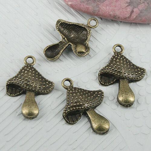 16pcs Antique Bronze Color Rivets champignon design Charms EF0647