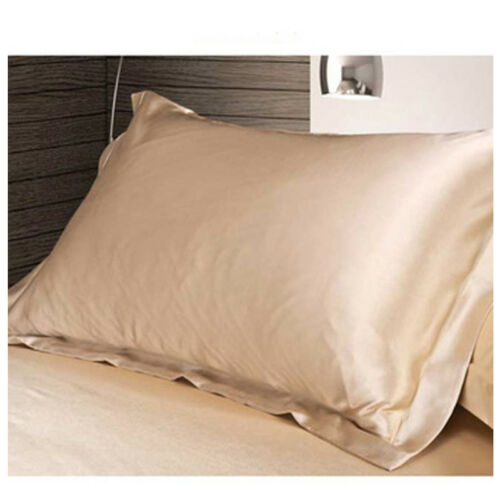 1X Silk Satin Duvet Cushion Cover Silky Bedding Set Fitted Sheet Pillow Cases ##
