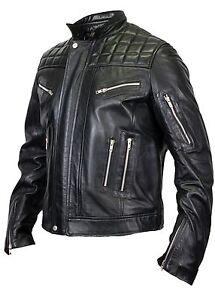Da-Uomo-Trapuntato-Giacca-di-Pelle-di-Agnello-Pelle-Biker-Moto-Chopper-Rocker-trapunta-camouflage