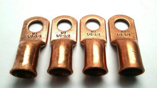 "Copper 0 Gauge AWG 3//8/"" Lug Ring Crimp Solder Terminal Power Or Ground Wire"