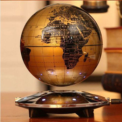 8 LED Decor Magnetic Levitation Maglev Levitating Floating Globe World Map Black
