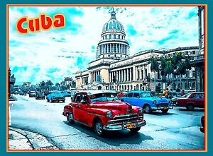 Cuba Cuban Havana Island Habana Cars Car Caribbean Travel Advertisement Poster