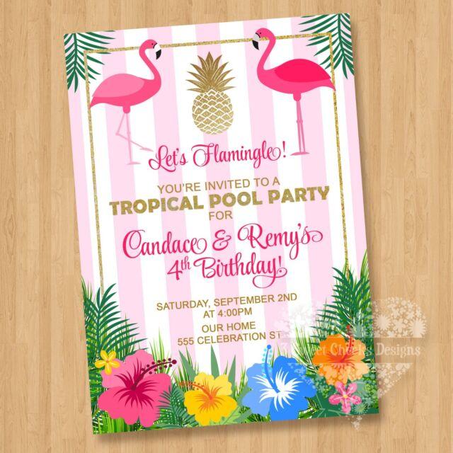 10 twin luau flamingo hibiscus birthday party invitations adorable 10 twin luau flamingo hibiscus birthday party invitations adorable cute pool filmwisefo