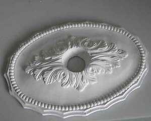 stuck ovale rosette aus gips stuckrosette deckenrosette kronleuchter ebay. Black Bedroom Furniture Sets. Home Design Ideas