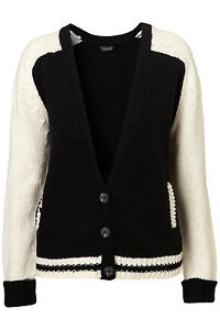 New-TOPSHOP-knitted-baseball-chunky-cardigan-UK-8-in-Multi