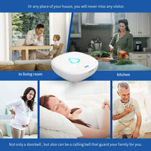Waterproof Cordless Wireless Doorbell Smart Home Doorbell Chime Set 32 Chimes