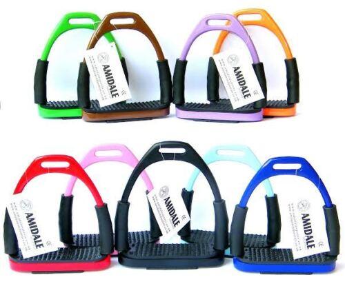 Amidale Flexi Sicherheit Steigbügel Reiten Bieg Eisen Edelstahl 10 Colors